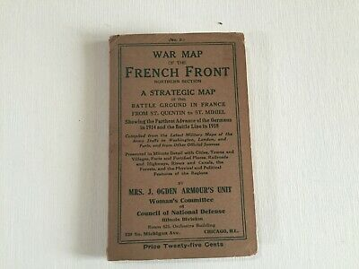 World War I Map French Front/St.Quentin to St.Mihiel/ 1914 - 1918  Western Front