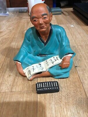 """H2) Hakata Urasaki Doll Figurine Man Blue Outfit Abacus And Open Book 5"""" 1950's"""