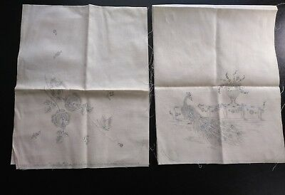 Vintage Stamped Dresser Scarf for Embroidery Pair Peacock Flower Butterfly