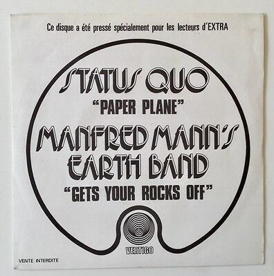 MEGA RARE Status Quo/Manfred Mann's 1972 French Promo single.Paper Plane.