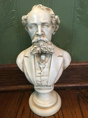 "12"" Portrait Bust of Charles Dickens Statue English Victorian Writer Author"