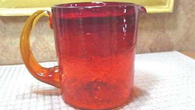 Blown Art Glass Crackled Amberina 6 Cup Pitcher