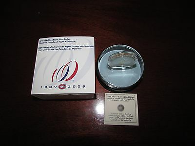 2009 Special Edition Montreal Canadiens Proof Silver $1 (with Acrylic Stand)