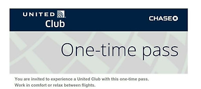 Two (2) United Airlines Club Lounge One-Time Pass EXP 03/19/20 E-mail delivery
