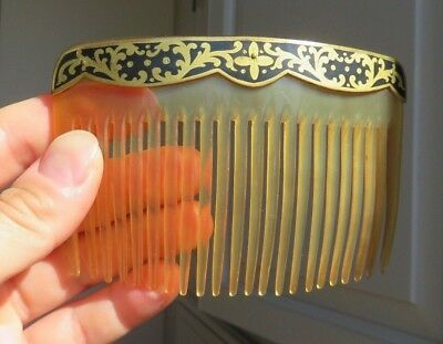 Antique Edwardian Celluloid & Enamel Comb/Tiara