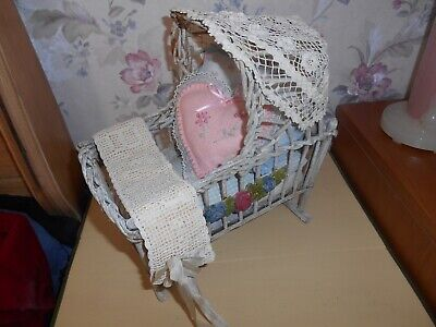 Wicker  Primitive Vintage Doll Cradle With Pillows And Blankets