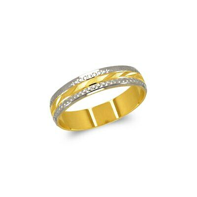 14K Solid Two Tone Gold Diamond Cut Stamped Design Wedding Band Fancy Ring 5mm