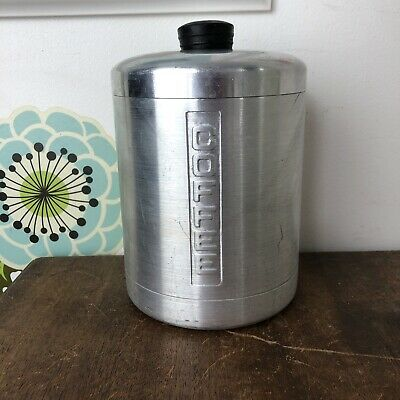Vtg Brushed Aluminum Canister Coffee Container L Heller Hostess Ware Mid Century