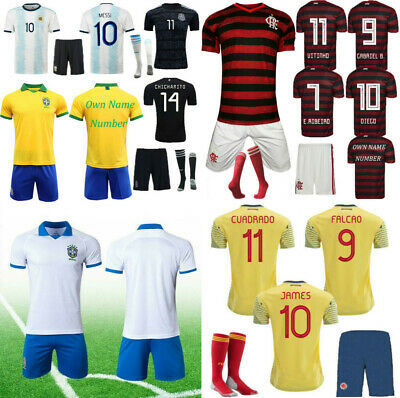 19-20 Football Outfit Kits Kids Boys Soccer Jersey Strips Training Suits +Socks