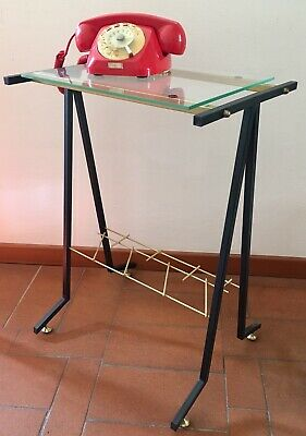 Small Metal and glass  furniture mobile metallo 50s 60s Vintage Mid Century