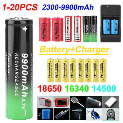 20pcs 9800mAh Li-ion Rechargeable Batteries 16340 18650 14500+ Battery Charger