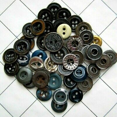 45 Antique Vintage Metal Work Clothes Buttons Mixed Lot Assorted Types Sizes
