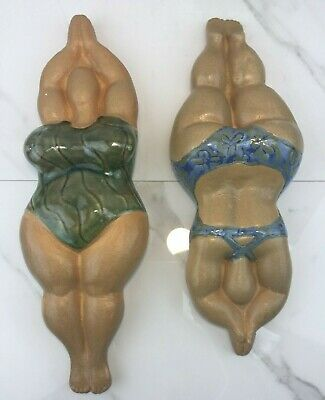 2 Stoneware Diving Fat Lady Swimmers Wall Plaques Bathing Suit Beach Decor