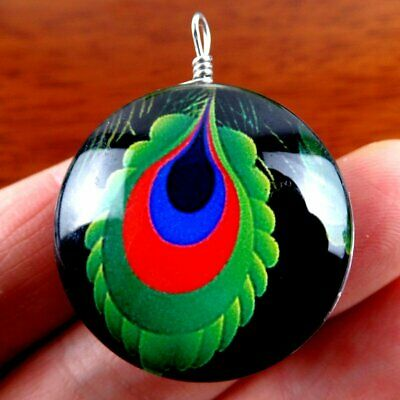 D5.22198 Oval Crystal Carved Peacock Tail Pattern Pendant Bead 30*15mm