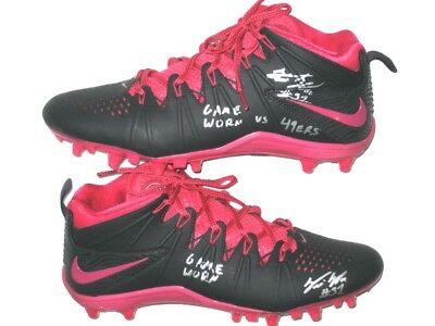 """Trevin Wade New York Giants Game Worn """"30-27 Thrilling Win Vs 49Ers"""" Nike Cleats"""