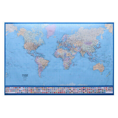 World Map Giant Detailed Full Lamination Decorative Mural Poster for Office