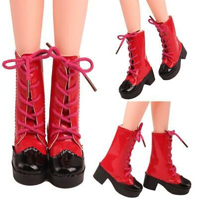 1Pair PU Leather Doll Red Boots Shoes for 23 inch Dolls Accessories-Gift