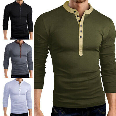 6c3fe98a Men's Slim Fit V Neck Long Sleeve Muscle Tee T-shirt Casual Tops Henley  Shirts