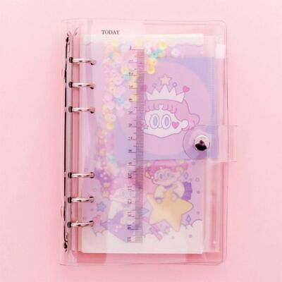 Transparent Pink PVC Notebook Cover Ruler Round Ring Binder Planner Study Supply