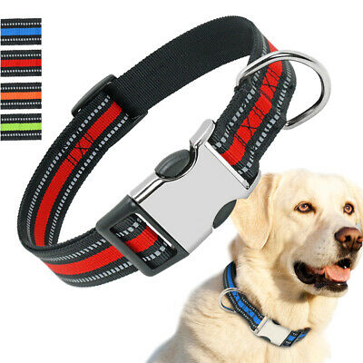 Reflective Nylon Pet Dog Collars D-ring for Small Medium Large Dog Bulldog Boxer