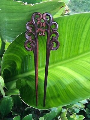 Two/2 Prong Carved Filigree Flower Wooden Wood Hair Fork/Pin/Hair Stick/Pick.NEW