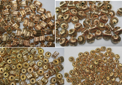 Lot Of Rose Gold Plated Corrugated Brass Beads -Round,Oval Tube,Cylinder,Saucer