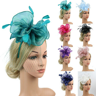 Fascinator Hat Mesh Net Veil Party Hat for Women Flower with Clip and Hairband
