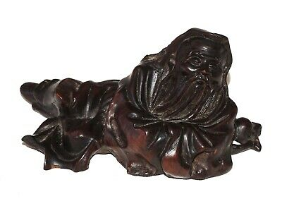 20C Chinese Hardwood Carving of a Reclining Robed Sage Sculpture (RgR)