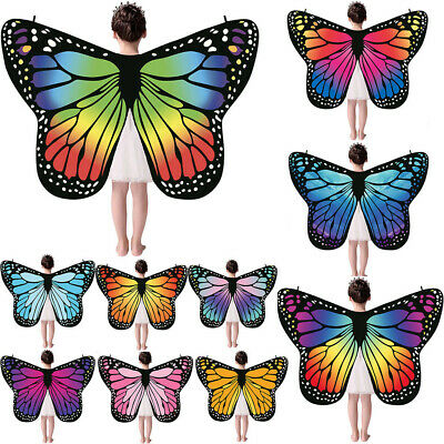 Kid Baby Butterfly Wings Shawl Scarves Nymph Pixie Poncho Costume Accessory AU