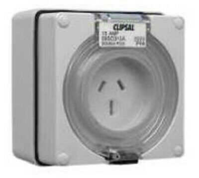 Clipsal INDUSTRIAL SURFACE SOCKET 250V 15A 2-Pole, 3-Pin Flat,Auto Switched GREY