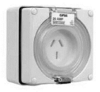 Clipsal 56-SERIES SURFACE SOCKET 250V 20A 2-Pole 3-Pin Flat, Auto Switched GREY