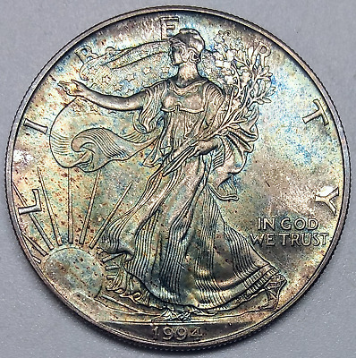 1994 American Silver Eagle .999 Ounce Blue Gold Toned Uncirculated Coin