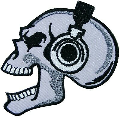 Skull Bone Skeleton DJ Headphones Music Punk Rocker Biker Iron-On Patches #SK025