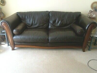 Pair of Vintage, Dark Brown Leather Sofa, two and three seater