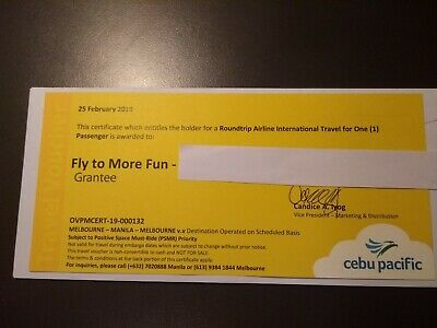 Cebu Pacific Air Ticket Voucher - Roundtrip Melbourne-Manila-Melbourne