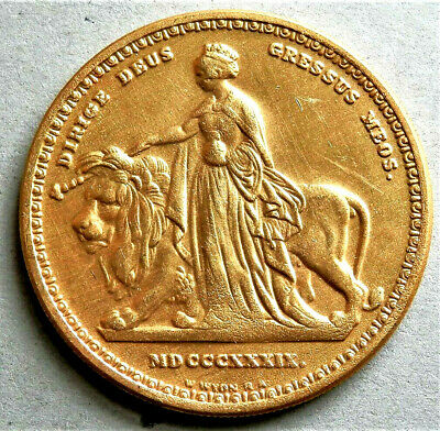 1839 Queen Victoria Goldened Exonumia Collectors Non Currency Coin / Medal .