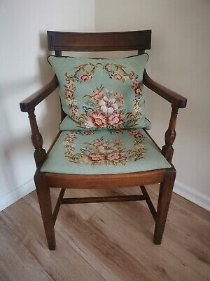 Regency style mahogany open back carver arm chair armchair tapestry needlework
