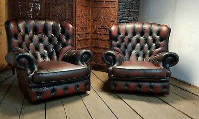 Pair Of Chesterfield High Back Chairs In Vintage Oxblood Red