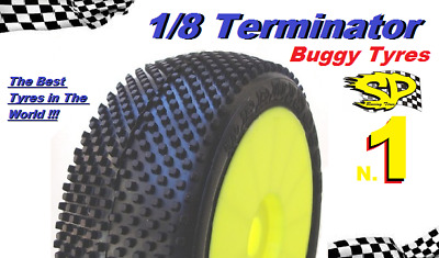 Gomme Tire 1/8 BUGGY SP RACING TERMINATOR COMPETION A incollate SP08620 (1cp)