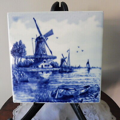 Antique Vintage DELFT BLUE Handpainted Tile Holland : Canal Scene with Windmills