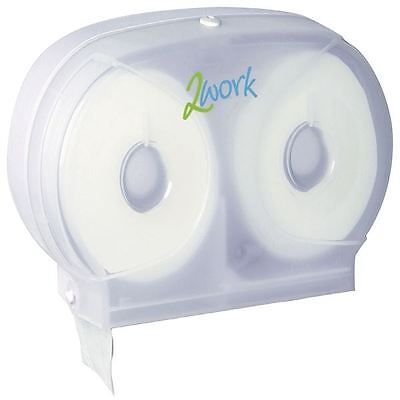 2Work Twin Toilet Roll Dispenser 2W06438, W326xD121xH193mm [2W06438]