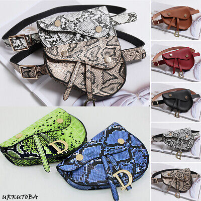 UK Waist Fanny Pack Belt Bag Pouch Travel Hip Bum Bag Women Small Snake Purse