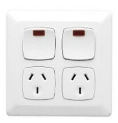 Clipsal PRESTIGE P2000 TWIN SWITCHED SOCKET 10A 250V 3-Pin, With Neon CREAM