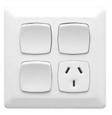 Clipsal PRESTIGE P2000 SINGLE SWITCHED POWER OUTLET 10A 3Pin 2xExt. Switch WHITE