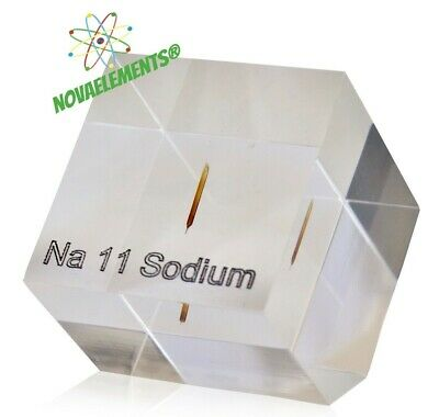 Sodium metal element 11 sample 99,95% argon sealed and casted in ACRYLIC CUBE