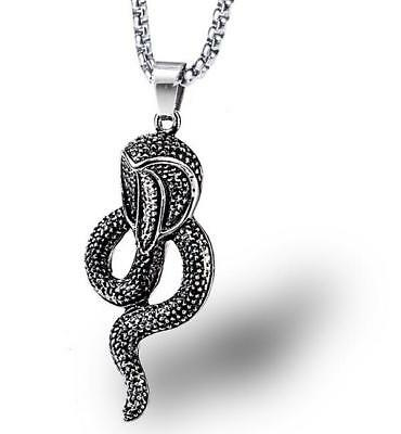 Vintage Men Snake 316L Stainless Steel Pendant Necklace Rock Silver Jewelry Gift