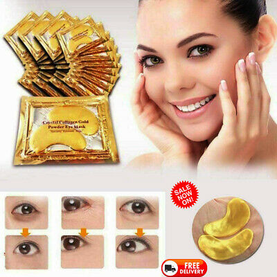 24k Gold Eye Mask Patches Collagen Crystal Gel Powder Face Anti Aging -UK SELLER