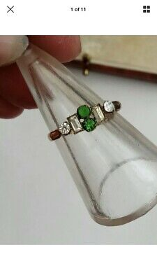 Lovely 20s Vintage Art Deco emerald green & clear paste Rolled Gold Ring size 0