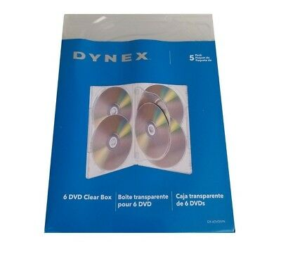NEW DYNEX- DVD Storage Boxes 5-Pack - CLEAR (6 DVD CLEAR BOX ) Sealed