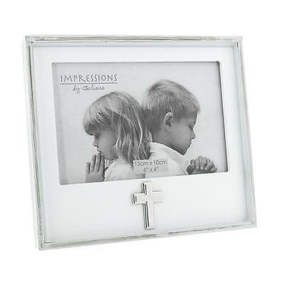 Juliana White MDF 6x4 Photo Frame - Christening with Cross Icon